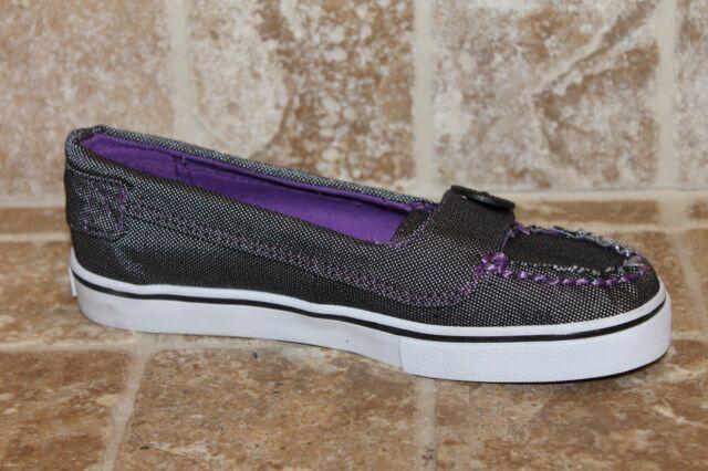 e813c5a1a989b VANS Ashland (textile) Light Grey/ Lilac Purple Youth Slip on Shoes Size 2.5