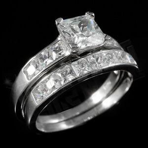 .925 Sterling Silver 18k White Gold Wedding Princess Cut CZ Womens Ring Set