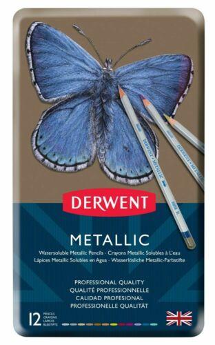 Derwent Métallique Crayon étain Lot de 12-Chatoyant Water-Soluble Couleurs