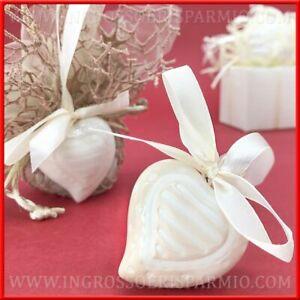 Segnaposto Economici Matrimonio.12 Appendini A Cuore In Ceramica Segnaposto Matrimonio Bomboniere