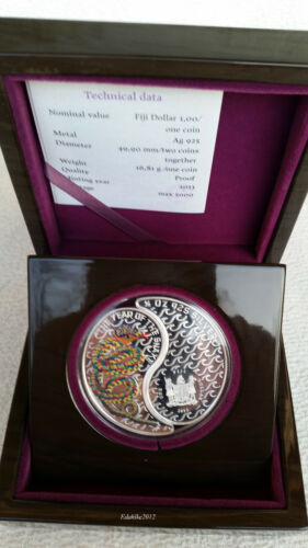 2013 Fiji 2 X $1 Year of the Snake Yin and Yang Collector Proof Coin