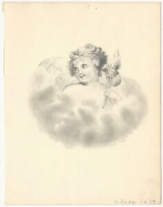 1834 Signed Girl's Pencil Drawing of Angel or Cherub with Torch
