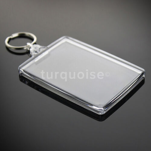10x Premium Quality Clear Acrylic Blank Keyrings Key Fobs 73 x 51 mmJumbo
