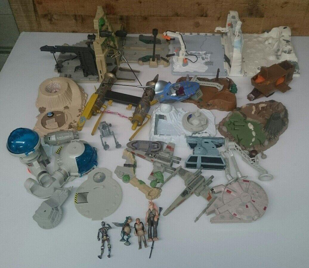 De Colección Guerra De Las Galaxias Hasbro 80s90s Lote edificios Y Figuras De Acción Luke Skywalker
