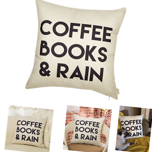 Details About Fjfz Coffee Books And Rain Motivational Inspirational Quote Cotton Linen Home