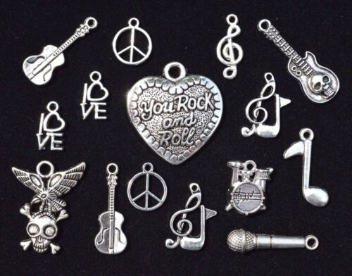 Size 14mm to 32mm 15pcs ROCK /& ROLL Music Theme Charm Set Antiqued Tibetan