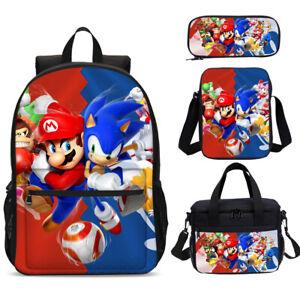 The Hedgehog Sonic /& Mario Kids Backpack Lunchbox Sling Bag Pen Case Gifts Lot