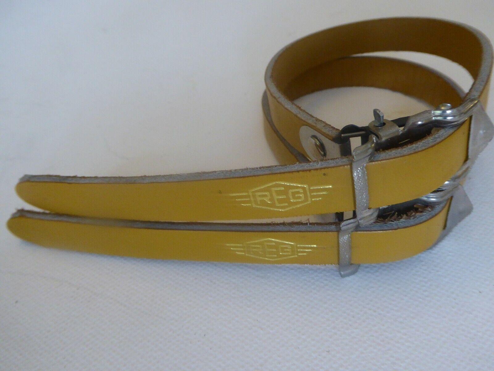 VINTAGE NOS REG Giallo Pelle Italiana PEDALE cinghie per il tuo Vintage Ride