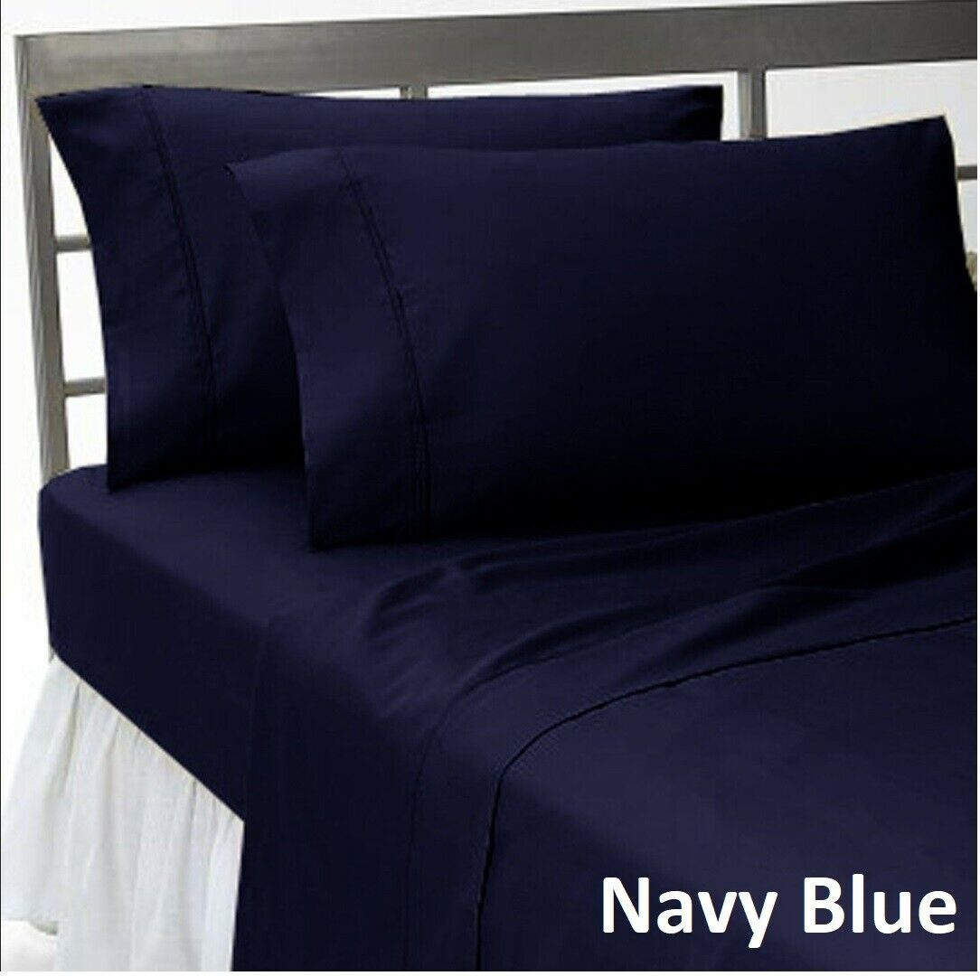 1000 TC Bedding Collection Select Item Egyptian Cotton Navy bluee Solid US Sizes