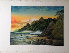 """ROBERT LYN NELSON Of Island Wave, Mountains, And Sunset. 28"""" x 25.5"""""""