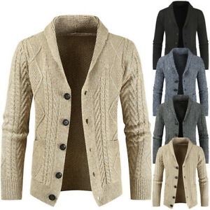 Mens-Cable-Knitted-Cardigan-with-Pockets-Buttoned-Sweater-Shawl-Neck-Winter-New