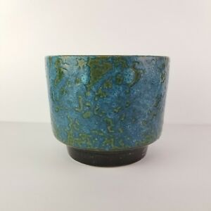 Mid-Century-Planter-Pot-Fat-Lava-Glaze-Blue-Green-Vintage-Cachepot-Pottery-6-034