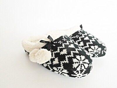 Damen Hausschuhe Norwegen Stil im Hüttenschuhe mit Bommel Slipper schwarz 38