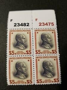 US SC# 834 1938 Calvin Coolidge $5 Replica Block of 4 Facsimilie Place Holders