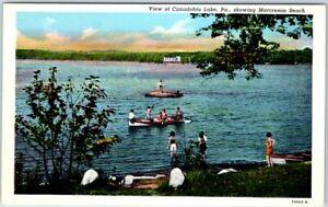 Canadohta-Lake-Pennsylvania-Postcard-Marcresan-Beach-Bathing-Scene-Linen-c1940s