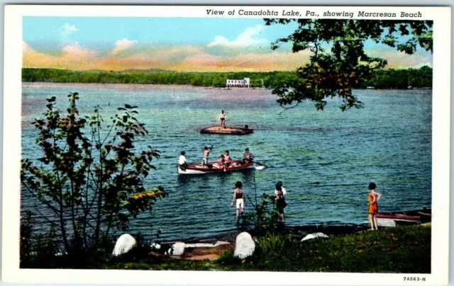 Canadohta Lake, Pennsylvania Postcard Marcresan Beach Bathing Scene Linen c1940s