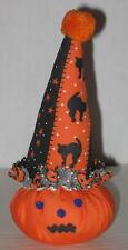 "1970's Plush Pumpkin Wearing Halloween Clown Hat 6"""