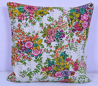 """16"""" INDIAN WHITE FLORAL CUSHION PILLOW COVERS KANTHA THROW Ethnic Decorative Art"""