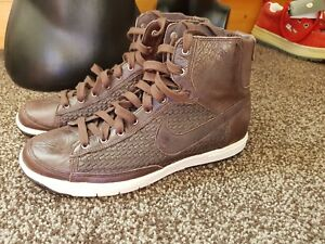 size 40 06bc2 295bd Image is loading NIKE-BROWN-LEATHER-TRAINERS-UK-6-NEW-FREE-
