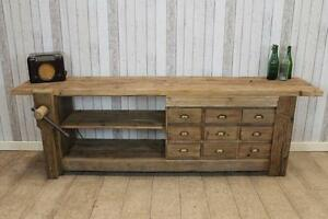 Sideboard Industrial Look ~ Large reclaimed rustic pine sideboard industrial style unit work