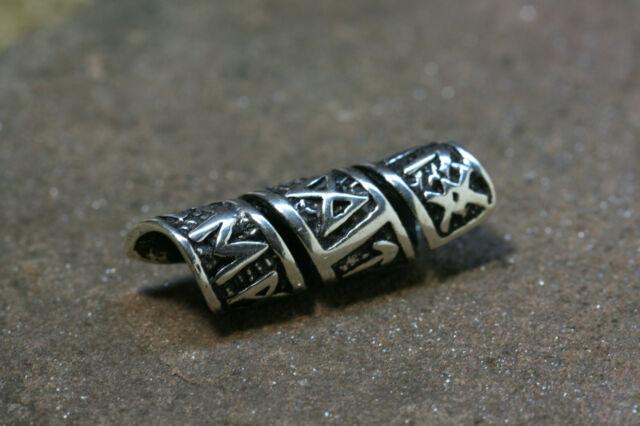 Beard Bead Silver Runes of the Futhark long Viking Hair bead plus Rubber
