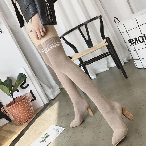 Bottes cuisse genou femme beige collants 10 cm plateau comme cuir 9658