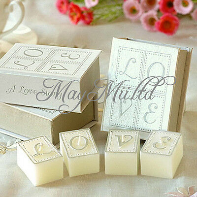 Set Love Story Candle in Book Shape Case Wedding Favour Party Gift