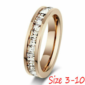 Silver-Rose-Gold-CZ-Titanium-Steel-Ring-Men-Womens-Stainless-Wedding-Band-Sz3-10