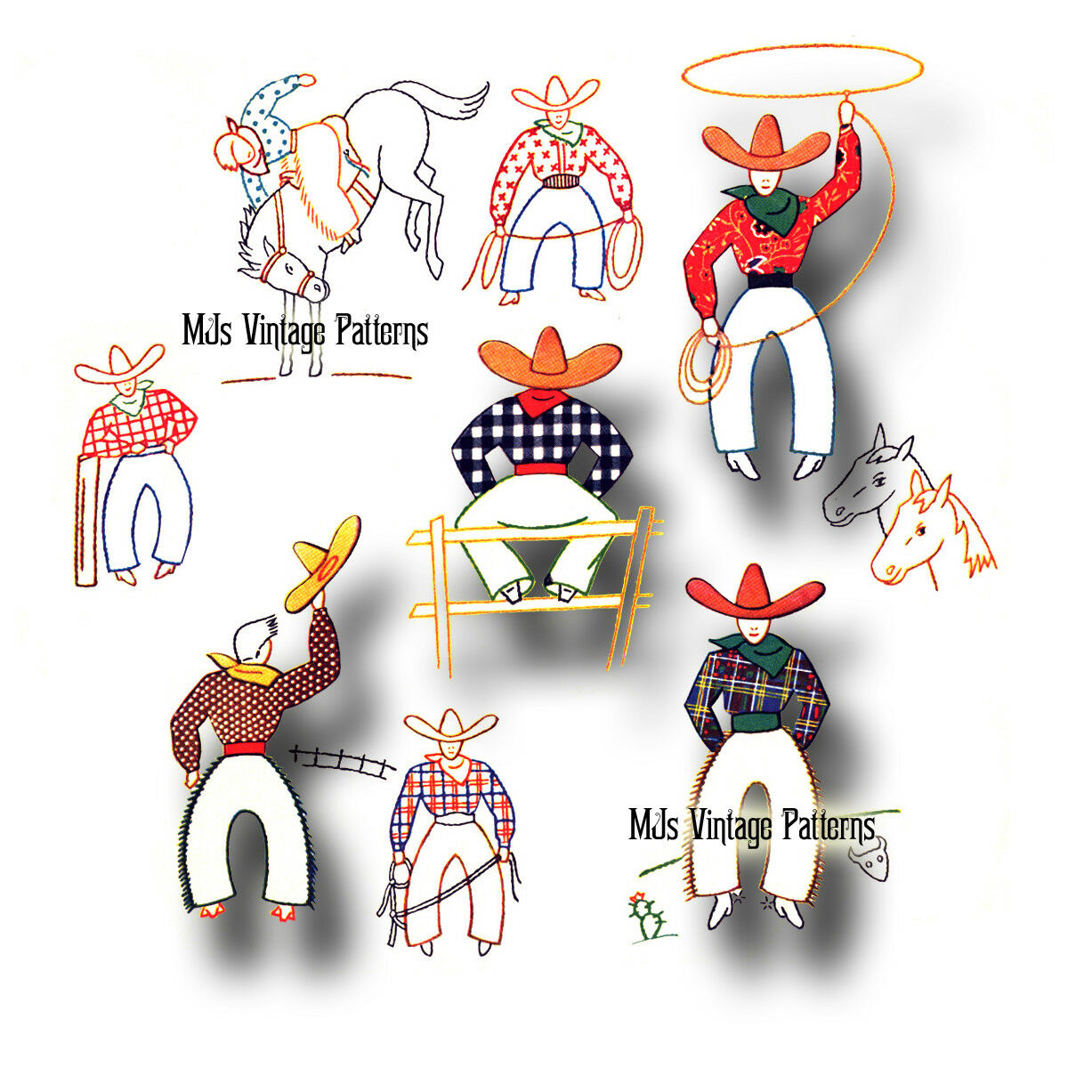 Vintage Cowboys Embroidery Applique Pattern