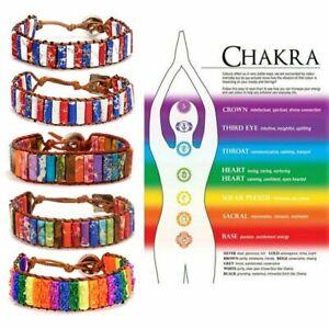 7-Chakra-Natural-Stone-Tube-Beads-Bracelet-Handmade-Braided-Rope-Bangle-Jewelry