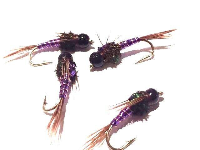 6 Black Tungsten Purple Pheasant Tail Nymph mix hook sizes 12,14,16