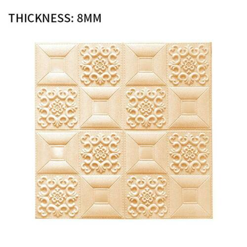 Foam 3D Tile Brick Wall Carved Wallpaper Panel Sticker Self-Adhesive Home Decor*