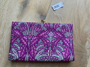 NWT-Banana-Republic-purple-gray-floral-100-silk-envelope-clutch-MSRP-38