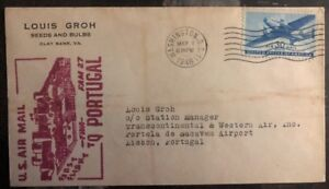 1946-Washington-DC-USA-First-Flight-Cover-FFC-To-Lisbon-Portugal-FAM-27