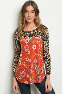New-USA-Boho-Orange-Rust-Leopard-Floral-Button-Western-Tunic-Top-Blouse-Large