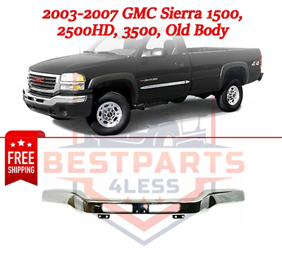 New Front Bumper Face Bar Chrome For GMC Sierra 1500 GM1002418 2003-2007