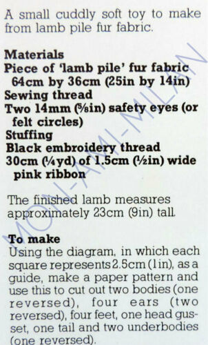 "Easter Lamb Sewing Pattern Photocopy To Make a Cute 9/"" Soft Toy"