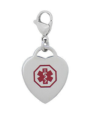 Medical Alert ID Heart Charm or Zipper Pull