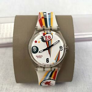 Swatch-Men-039-s-Women-039-s-Watch-Quartz-White-Multicolor-Silicone-Strap-Analog-Swiss