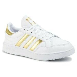 Scarpe-Ginnastica-Donna-Adidas-Originals-Team-Court-Bianco-Oro-in-Pelle-Sneaker