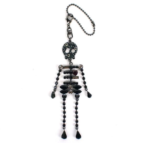 100% Auténtico Anteprima Cristal Incrustado Calavera Esqueleto Llavero Bolso Encanto-ver Mano De Obra Fina