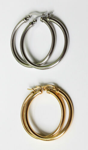 3mm stainless steel or steel gold plated hoop earrings 30mm to 70mm Diameter
