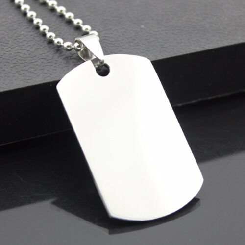 Military Dog Tag Stainless Steel Pendant Ball Bead Necklace Army Mens J2A8