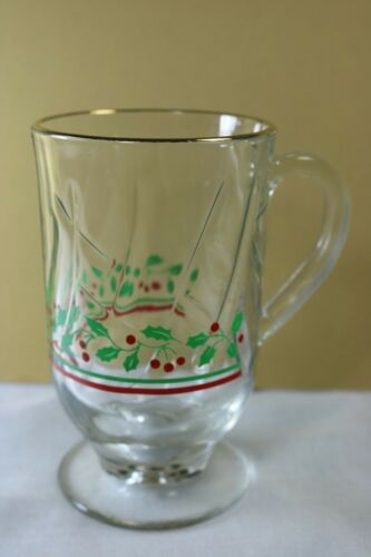 Vintage Arby's Coffee Footed Mugs Christmas Holly Berry Swirl Gold Rim Set of 4