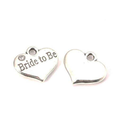 4 x Tibetan Silver Rhinestone Ring Bearer Heart Pendant Charms