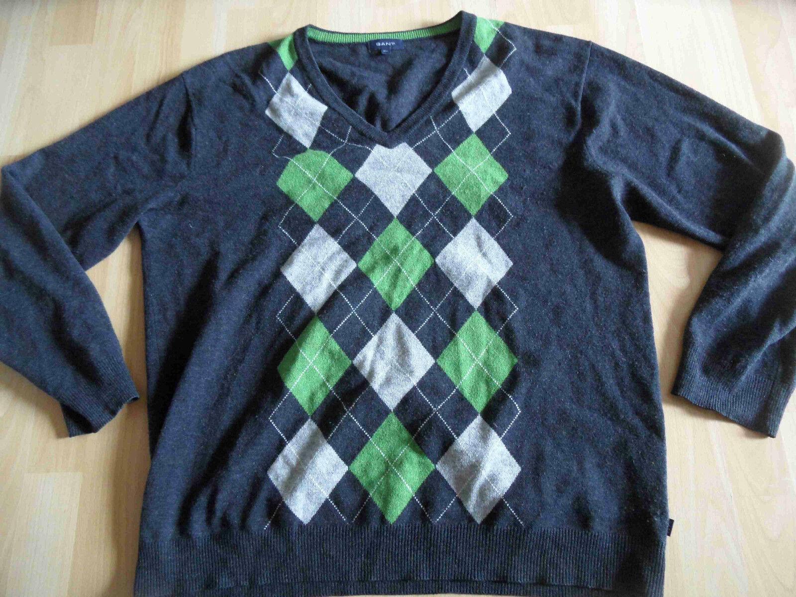 GANT schöner Lambswollpullover Rautenmuster grau grün Gr. 2XL TOP 615