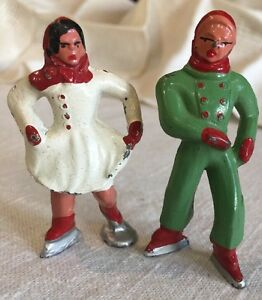 2 Vintage Barclay Cast Metal Winter Ice Skating Skaters Figures