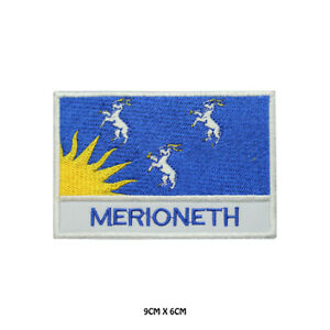 MERIONETH County Flag With Name Embroidered Patch Iron on Sew On Badge