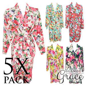 5-PACK-Bridal-Wedding-Bride-Bridesmaid-Floral-Vintage-Dressing-Gown-Robes-Cotton