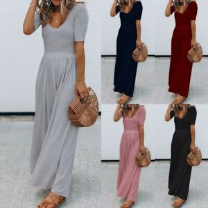 Women-039-s-Holiday-Maxi-Short-Sleeve-Jumpsuits-Ladies-Summer-Fashion-Rompers-Dress